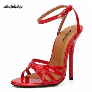 Image 4 - LLXF Unisex SM Giày Vải Gót Sọc Mùa Hè Hộp Đêm bơm 14 cm mỏng cao cấp Giày nữ cưới Đeo Chéo Nữ búp Bê Cô Dâu Xăng đan