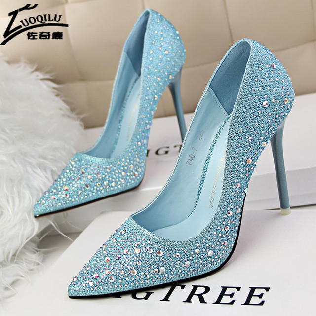 Hot Women Pumps High Heels Shoes Silver Blue Rhinestone Wedding Shoes Bride High Heels Shoes Women 2017