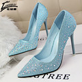 Mulheres quentes Bombas de Salto Alto Sapatos de Prata Azul Strass sapatos de Casamento Sapatos de Noiva Sapatos de Salto Alto Mulheres 2017