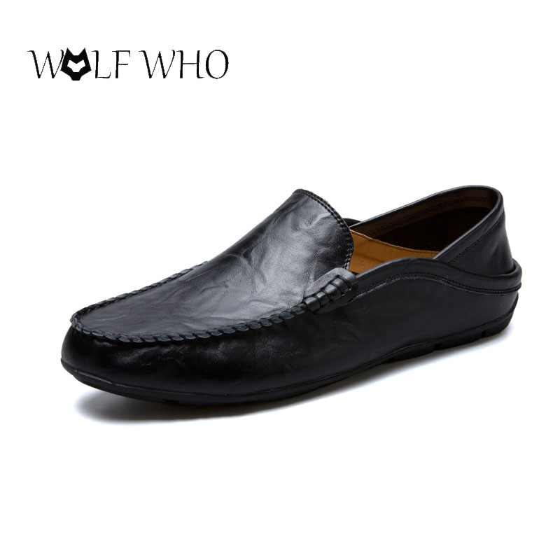 WolfWho Men Shoes Genuine Leather Moccasin Loafers Designer Slip On Flat Boat Shoes Male Classical Chaussure Homme Size 37-47 vintage genuine leather shoes men slip on brogues dress shoes size 38 43 chaussure homme quality wedding shoes for men flats f31