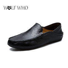 WolfWho Men Shoes Genuine Leather Moccasin Loafers Designer Slip On Flat Boat Shoes Male Classical Chaussure Homme Size 37-47