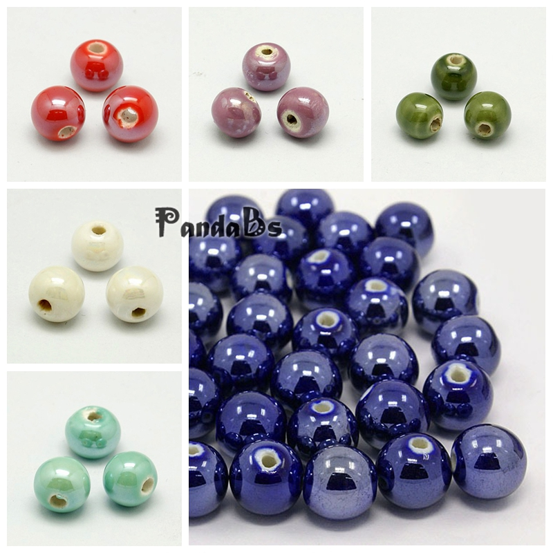 100Pcs DarkBlue 10mm Pearlized Round Handmade Porcelain Beads DIY Jewelry Making
