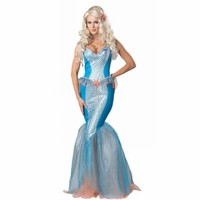 Nueva adulto damas elite traje de sirena sexy shiny blue dress mujeres fiesta de halloween fancy dress adultos sirenita disfraces