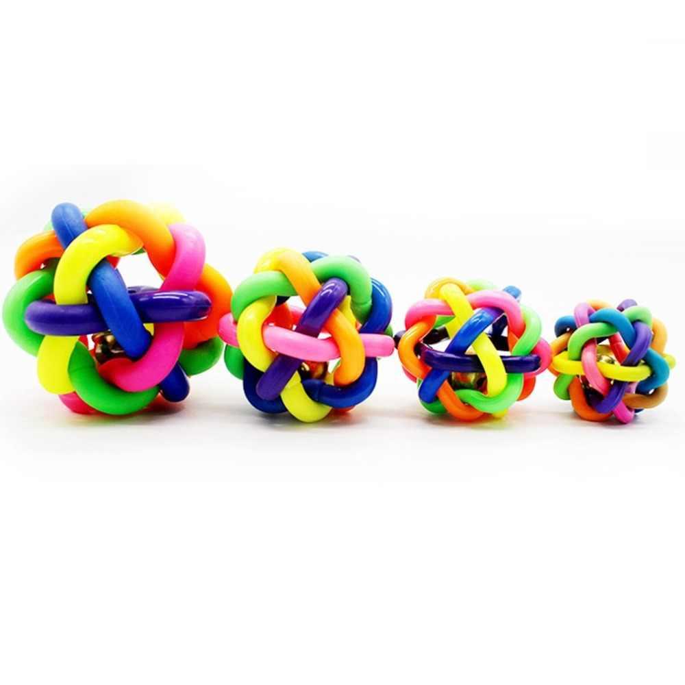 צבעוני גומי כלב צעצועים לחיות מחמד כלב חתול צעצוע עגול ארוג כדור עם קטן פעמון צעצוע עבור כלב חתול חתלתול אינטראקטיבי צעצוע