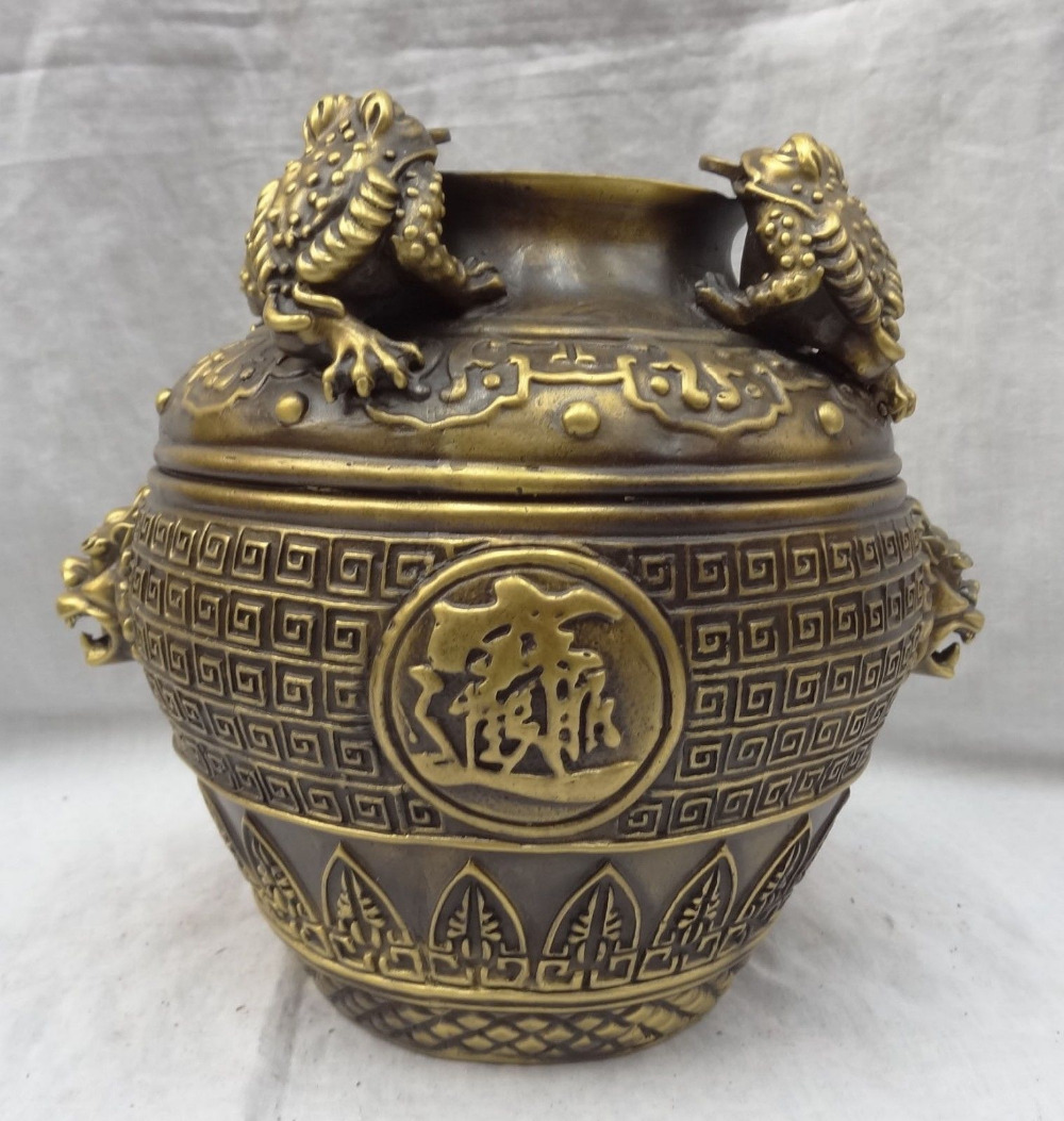 007032 10 China Bronze Gilt Hoptoad Lion Head Statue Wealth ZhaoCai JinBao Jar Pot Jug007032 10 China Bronze Gilt Hoptoad Lion Head Statue Wealth ZhaoCai JinBao Jar Pot Jug