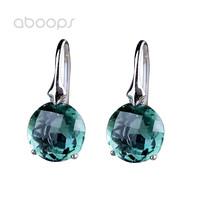 Fashion 925 Sterling Silver Round Green Crystal Hoop Earrings for Women Girls Free Shipping
