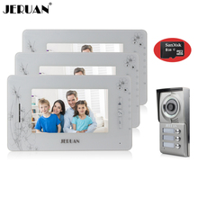 "JERUAN 7"" video door phone intercom system monitor video recording photo taking doorphone 3 montior 1 camera+8GB Card"