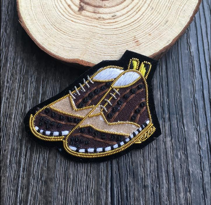 Diy Handmade Embroidered Patch: Shoes Emboridered Patch Brooch Indian Silk Wire Handmade
