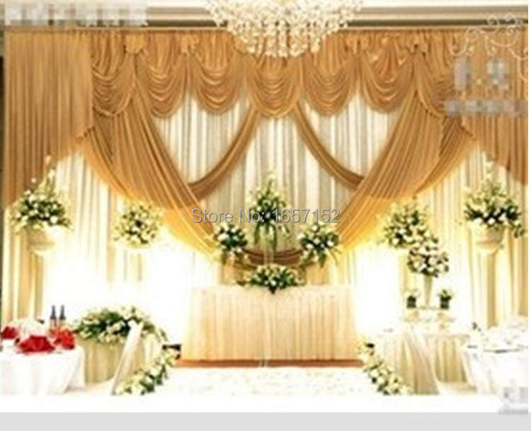 Gold Wedding Backdrop Wholesale Stage Decoration Wedding Supplies 10ft*20ft  Wedding Backdrop With Swag Stage