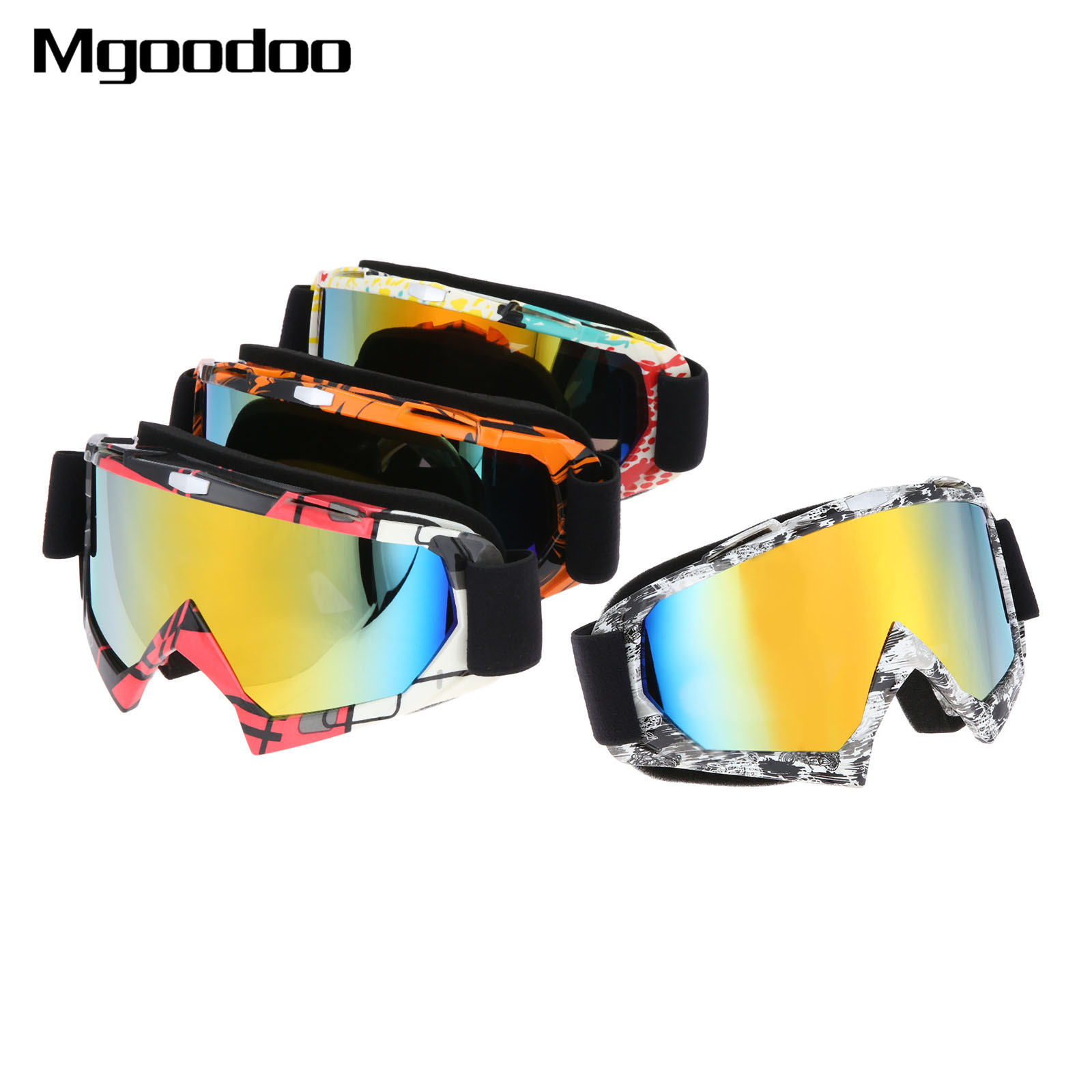 Motorcycle Goggles Ski Glasses Motocross Goggles Racing Eyewear Snowboard Glasses Colorful Lens Windproof Glasses Anti-UV