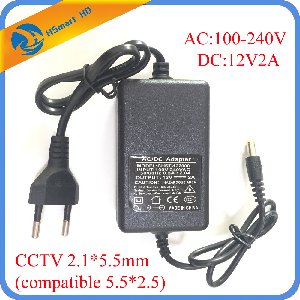 DC 12V 2A AC 100-240V Adapter Charger Power Supply for HD AHD TVI IR Camera DVR Camera Systems LED Strip Light CCTV 2.5*5.5mm 12v 5a 8ch power supply adapter work for cctv suveillance camera system dc 12v power supply 8 port dc pigtail coat
