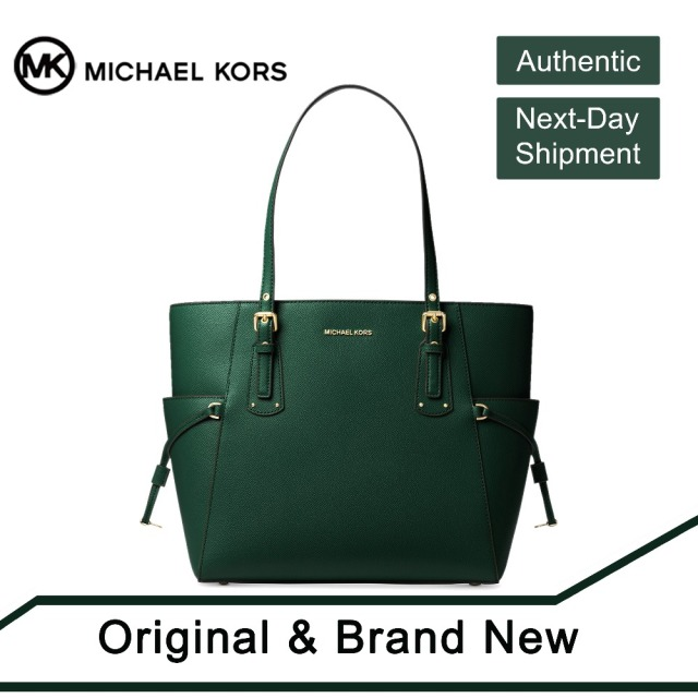 8a7435837e66 Michael Kors Voyager East West Crossgrain Leather Tote (Racing Green/Gold)  by MK