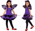 New M~XL Cute Purple Bat Girl Carnival Halloween Costumes for Kids Party Cosplay Costumes Dance kid performance Dresses F-0946