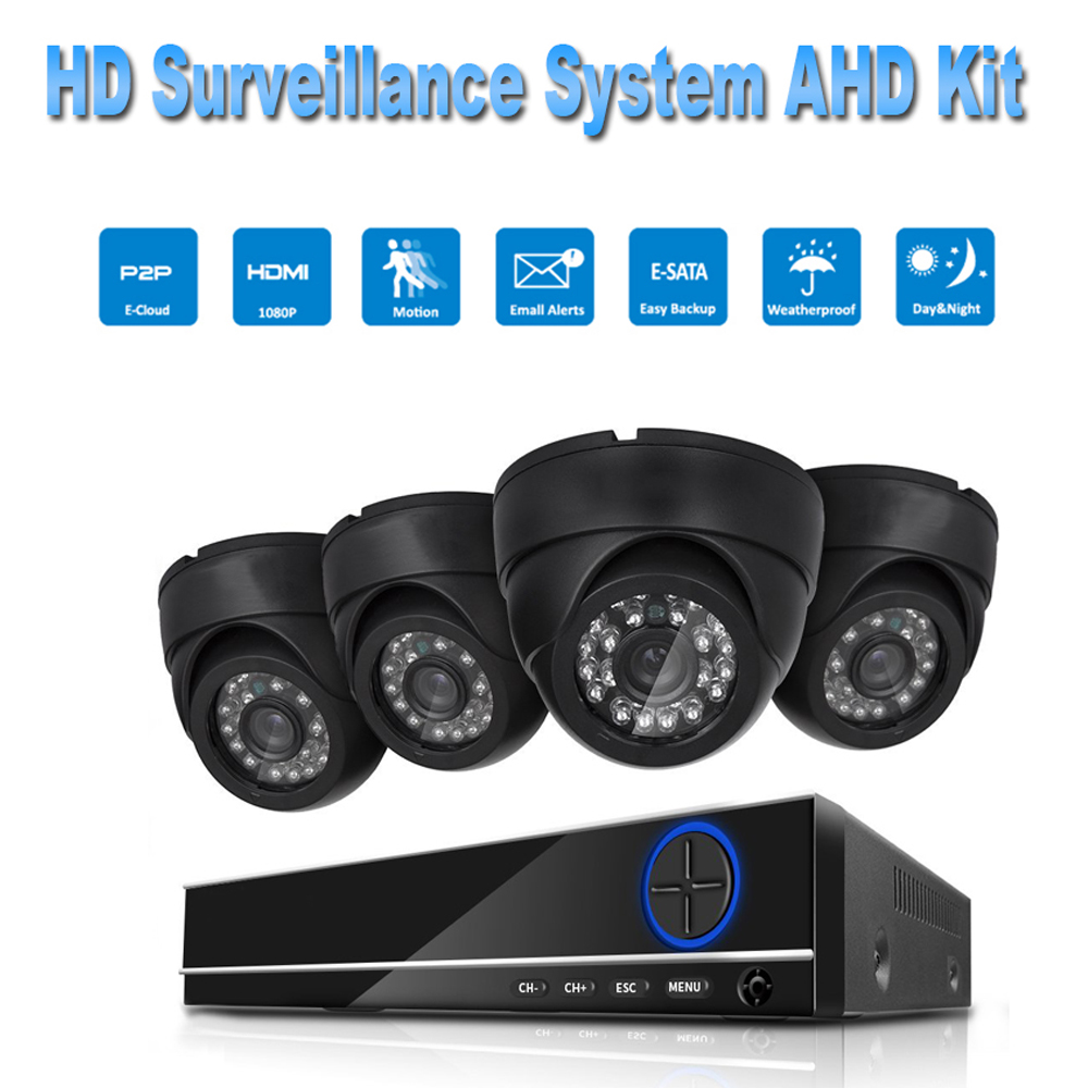 PUAroom 4CH Full HD 1080P IP66 night vision AHD camera RoHS FCC CE approved H.264 onvif video recording DIY Security System