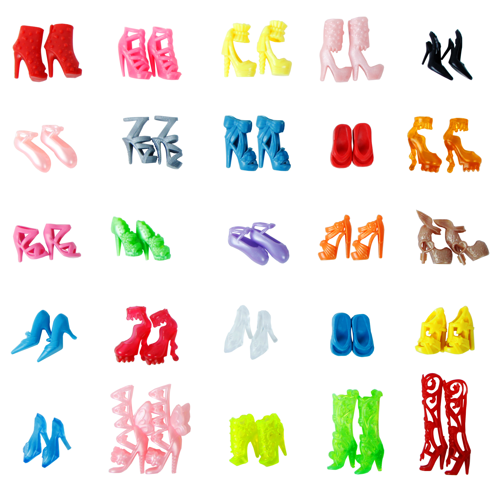 Random 10 Pairs Fashion Colorful Shoes High Heels Sandals Dress Clothes Accessories For Barbie Doll Boy Girl Toys Free Shipping