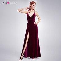 Sexy Velour High Split Evening Dresses Ever Pretty EP07181 Deep V Neck Design Elegant Velvet Evening