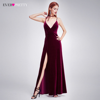 Sexy Velour High Split Evening Dresses Ever Pretty EP07181 Deep V Neck Design Elegant Velvet Evening