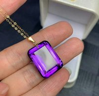 SHILOVEM 18k yellow gold Piezoelectricity Amethyst pendants none necklace classic wholesale Fine women new gift mymz152099z
