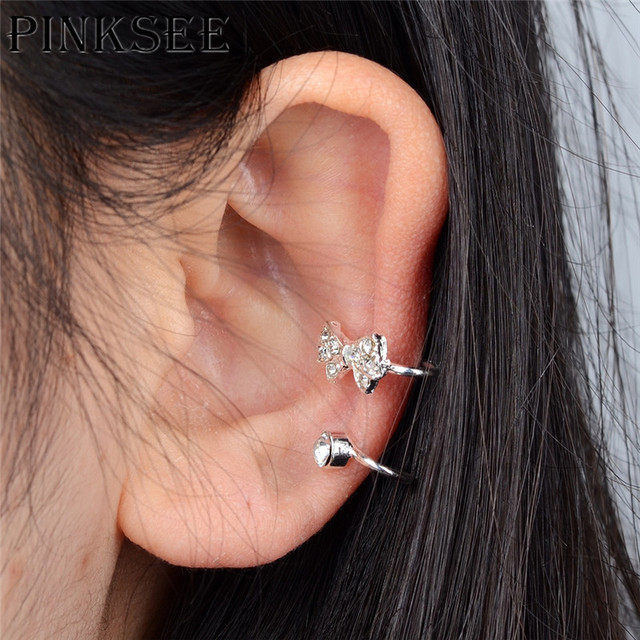 Pinksee 1pc Punk Rock Rhinestone Ear Cuff Wrap Earrings Without Piercing Clip On Cartilage Gold