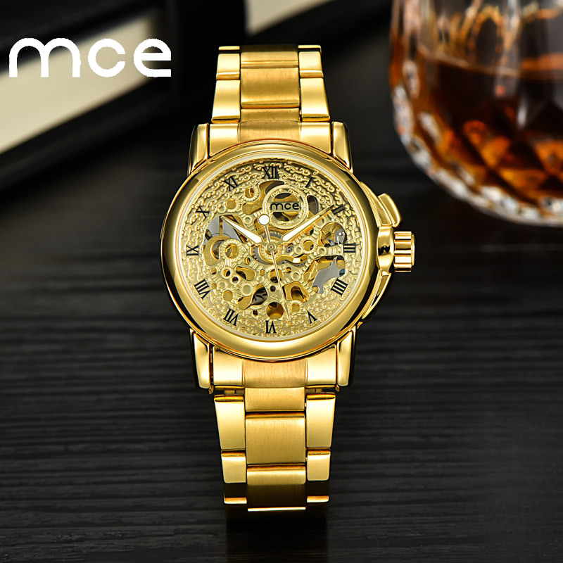 2018 new MCE brand Automatic Mechanical Watches for women Casual luxury gold Watch stainless steel automatic Ladies clock 345 2018 new mce brand quartz watches for women fashion roman numerals simple watch casual stainless steel leather strap clock 002