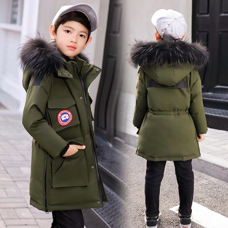 все цены на -30 Degree Children's Winter Jackets Duck Down Padded Children Clothing 2018 Big Boys Warm Winter Down Coat Thickening Outerwear онлайн