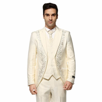HB031 (Jacket+Pants+Vest) Ivory custom Suits Solid Color With Rhinestone Wedding Dress Men embroidery suit three pieces Tuxedos
