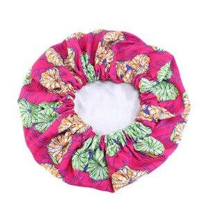 Image 5 - Nowa bardzo duża satynowa podszewka maski kobiety afrykański wzór nadruk na tkaninie Ankara Bonnets nocny czepek do spania panie Turban