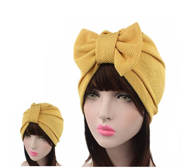 New women luxury bow Turban Hat Stylish Chemo cap-in Women s Hair ... 7ac95c7275c