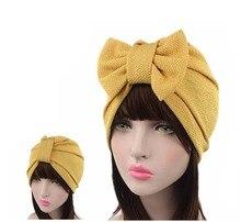 Новый женский люкс лук Тюрбан Hat Стильный Химио cap