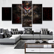 Canvas Printed Game Poster 5 Pieces Wall Art Dark Overwatch Reaper Painting For Modern Living Room Home Decor Artwork