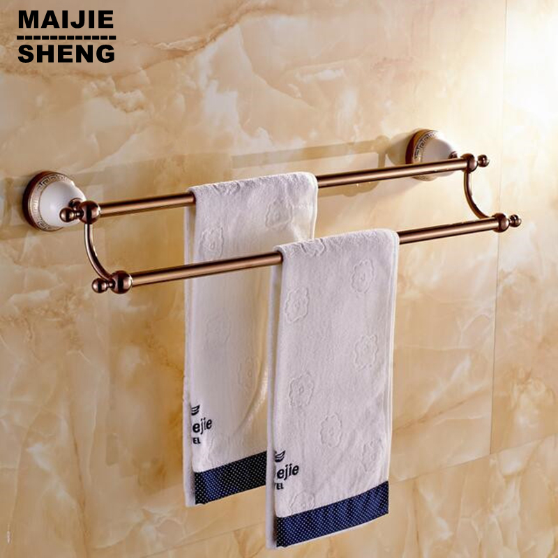 Double Red Golden With Ceramic Towel Bar,Towel Holder,Solid Brass  Made,Chrome