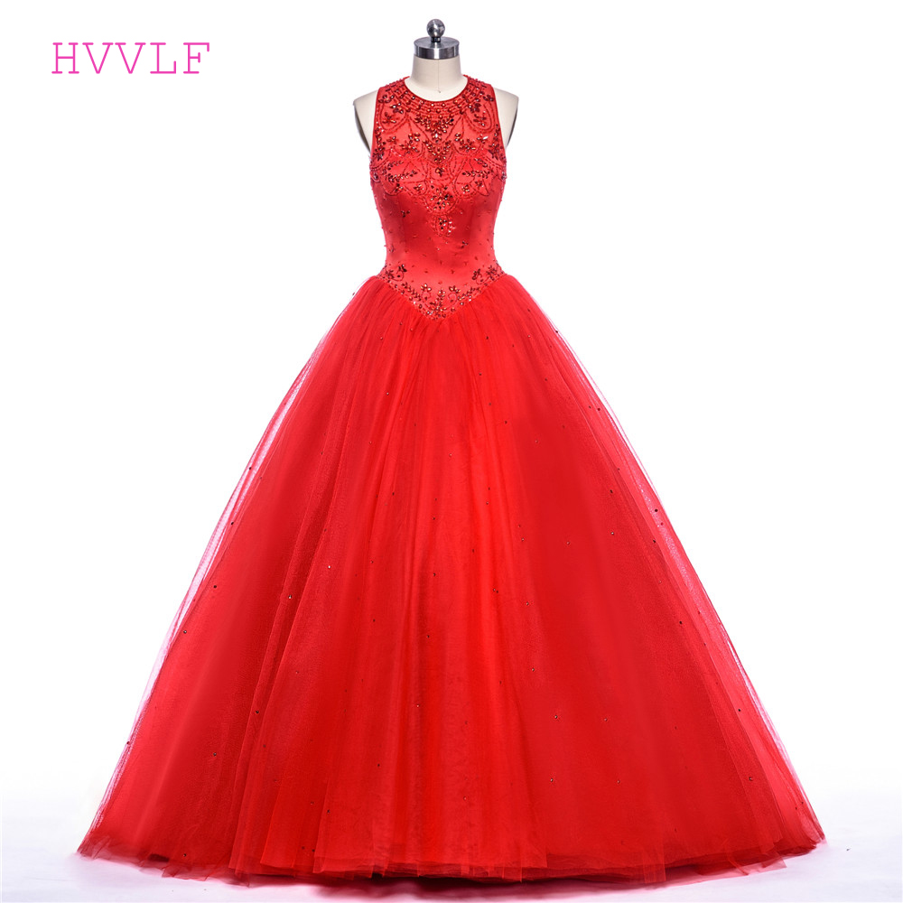 Red 2019 Cheap Quinceanera Dresses Ball Gown High Collar Tulle Beaded Crystals Sweet 16 Dresses