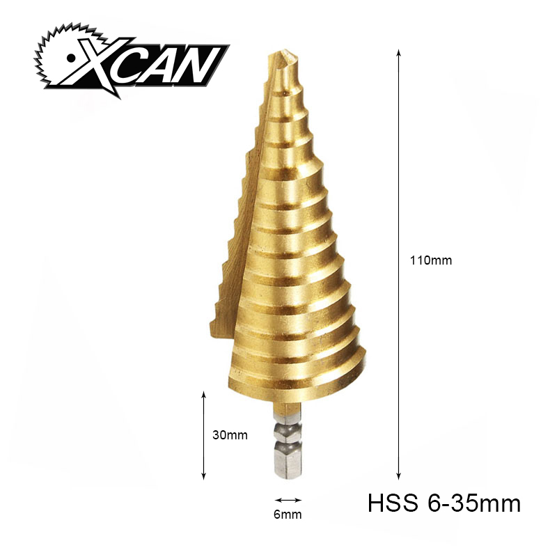 цена на XCAN 1 Piece Hex Shank Diamter 6-35mm Titanium coated Straight slot 13 Step High Speed Steel P6M5 Step Drill bits