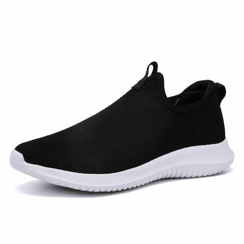 2019 الربيع حذاء رجالي الانزلاق على الرجال حذاء كاجوال خفيفة الوزن مريحة تنفس زوجين المشي أحذية رياضية Feminino Zapatos