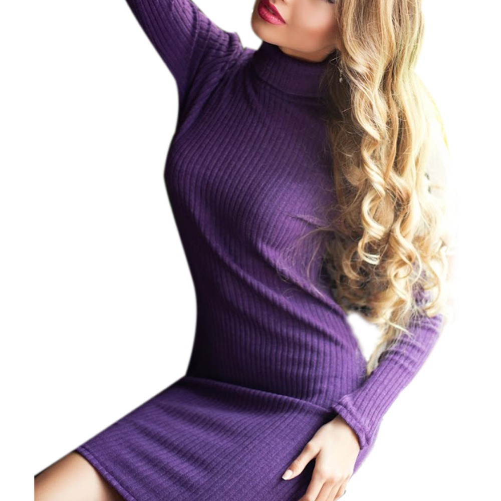 Spring Sweater Knitted Dress Women Long Sleeve Sexy Party Knitted Dress Casual Bodycon Dress Vestidos High Neck Sweater Dresses цена