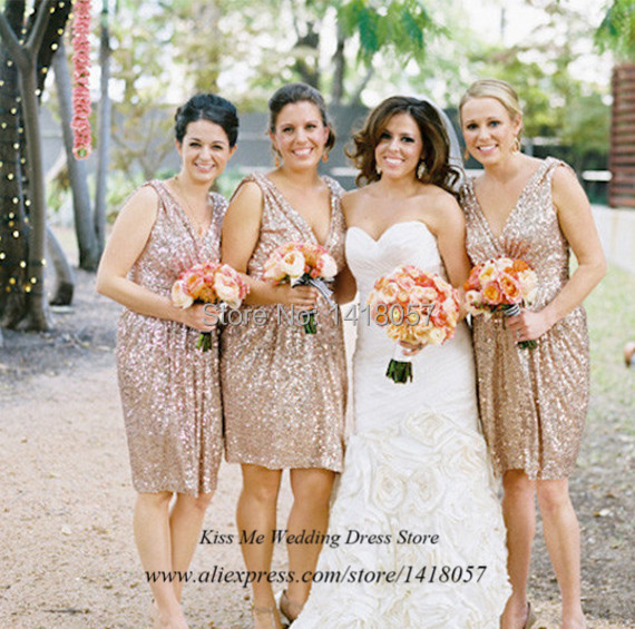 Plus Size Bling Sequined Gold Bridesmaid Dress Knee Length Short ...