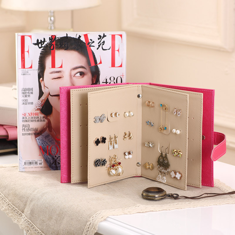 PULeather Stud Earrings Collection Display Book Pattern Portable Jewelry Display Creative Jewelry Storage Box little book of earrings