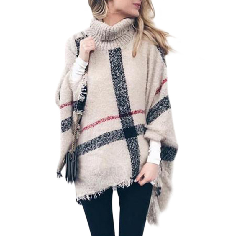Women's Sweater Spring Winter Female Long High Collar Tassel Cloak Shawl Loose Large Size Sweater Fashion Pullover Cape Manto