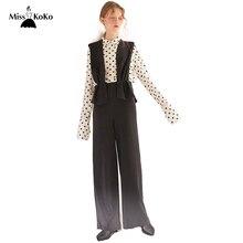 2b3b0d1be3 Misskoko Women 2018 New Arrival Loose Solid Black High Waist Full Wide Legs  Suspender