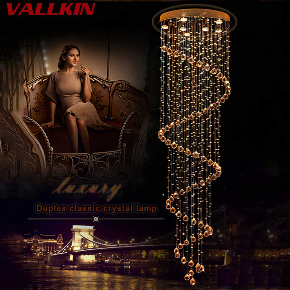 Современный K9 светодиодный спираль Гостиная с украшением в виде кристаллов арматура для люстры для ступенька лестницы Спальня для гостиничного Холла люстра VALLKIN/