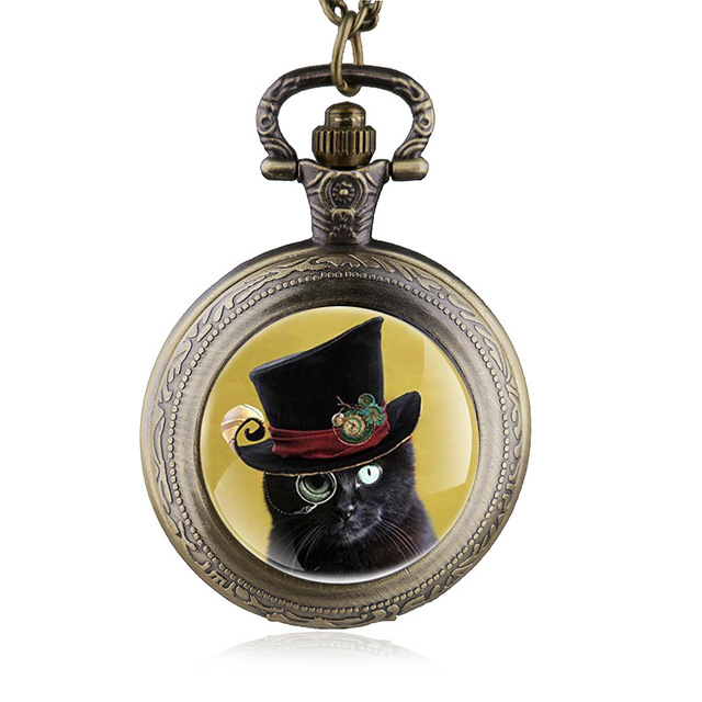 Antique Bronze Cat With Sunglasses Steampunk Pocket Watch Necklace Pendant with