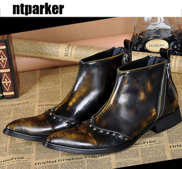 ntparker Italian Style Men Leather Boots Shoes Pointed Toe Bronze Men's Ankle Boot Fashion Dress Party Botas, Size EU38-46! black autumn men ankle boots pointed toe botas hombre lace up botas militares wedding dress shoes mens cowboy boot
