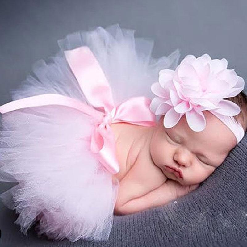Baby nyfödda fotografier Props Baby Tutu kjol Headband Set Foton Props Nya födda fotograf tillbehör