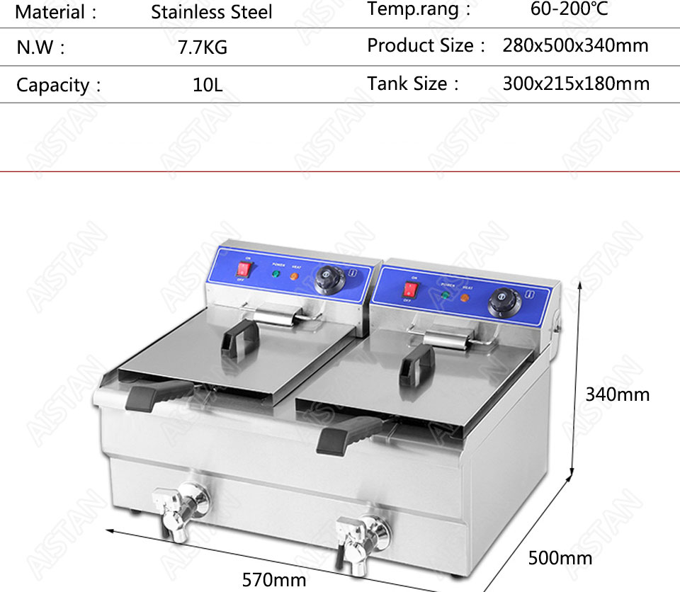 EF101V stainless steel electric deep fryer fried chicken fried potato chips for kitchen appliance 14