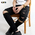 Cool Swag Hip Hop Jeans Destroyed Distressed Knee Leg Zippers Ripped Jeans Pants For Skinny Men