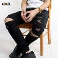 Legal dos ganhos do hip hop jeans destruído afligido perna joelho zíperes jeans rasgado calças para homens magros