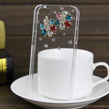 Fashion color drill flower clear plastic mobile phone protection shell Case cover for iphone 4S 5S