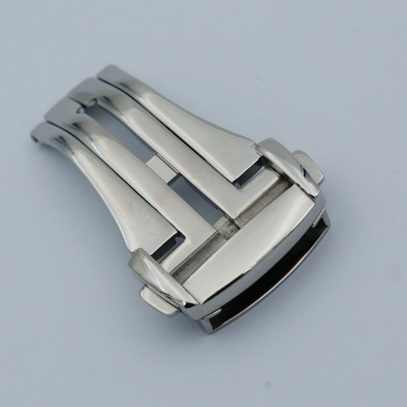 MAIKES High Quality 316L Stainless Steel Butterfly Buckle Silver Watch Band Strap Folding Clasp 16mm 18mm 20mm For Omega