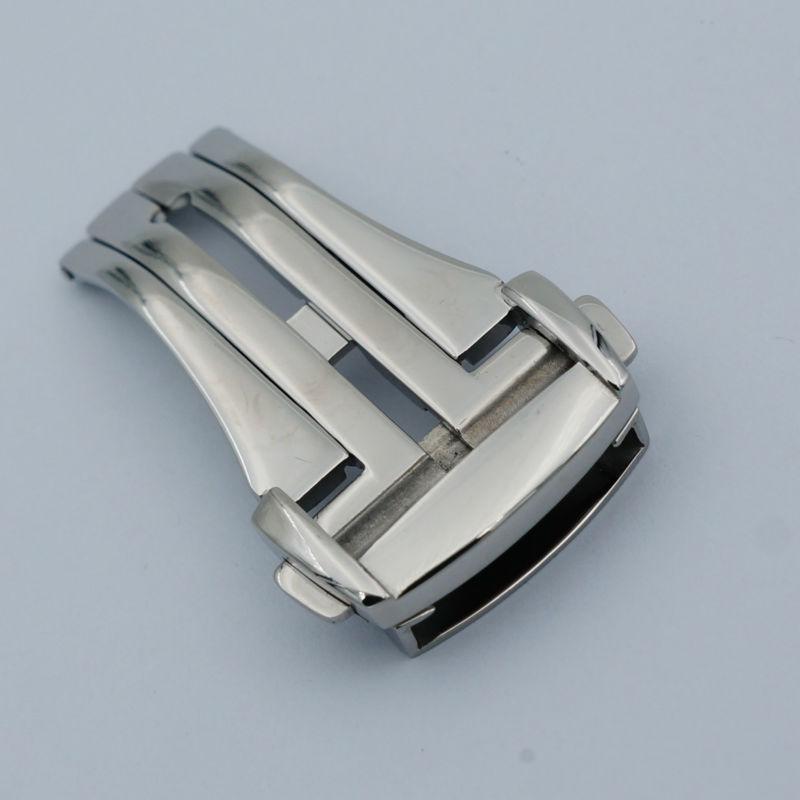 Maikes hohe qualität 316l edelstahl butterfly schnalle silber uhrenarmband-bügel faltschließe 16mm 18mm 20mm für omega