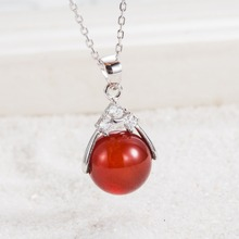 100% Guaranteed Real 925 Sterling Silver Pendants  With 12MM Agate Bead Jewelry YH2050